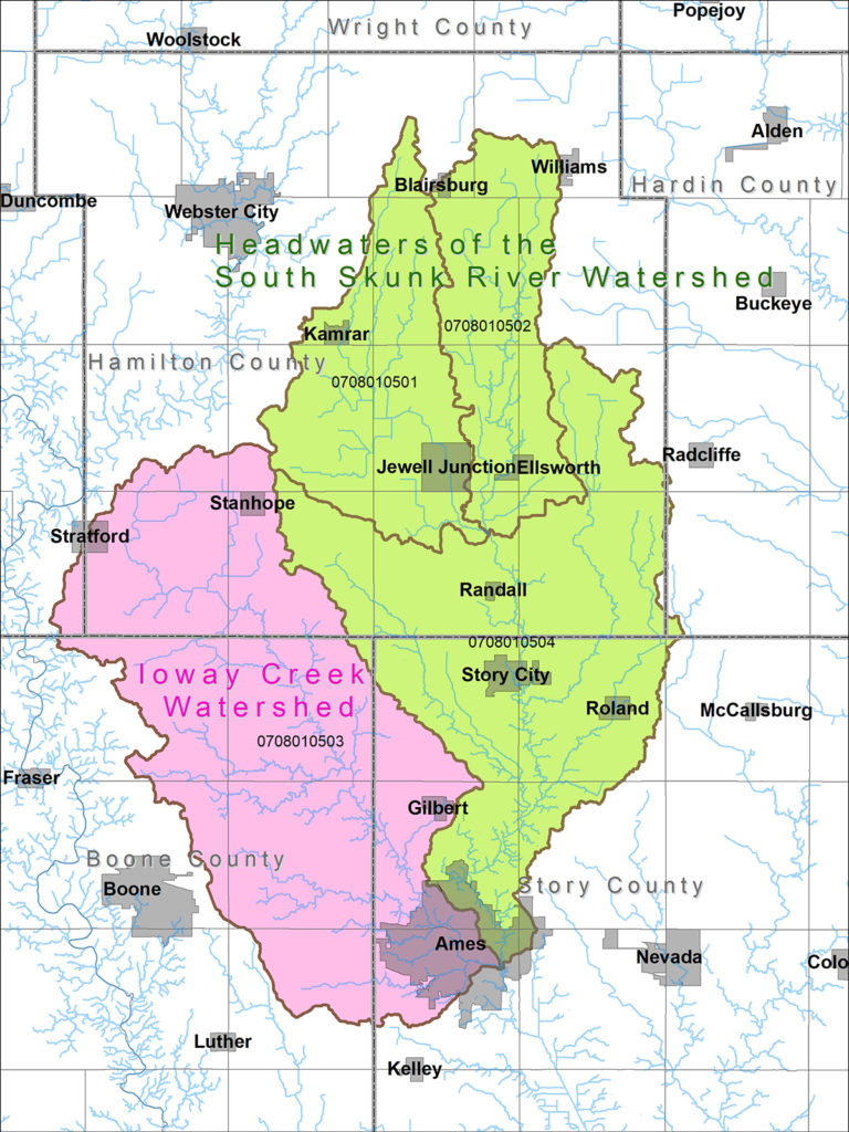 Headwaters of the South Skunk and Ioway Creek Watersheds Map
